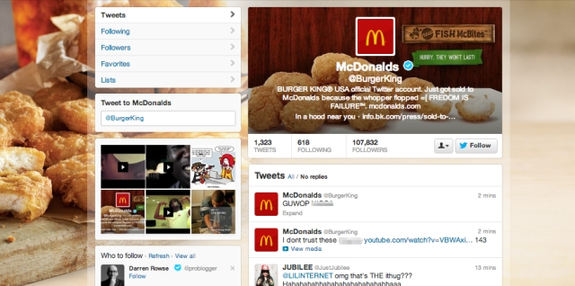 Burger King's Twitter account was hacked on Monday, Feb. 18, 2013. The result was national news coverage and annoyed followers of the @BurgerKing handle.